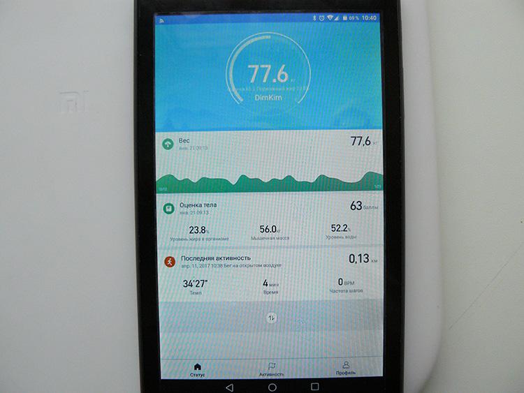 MiFit - результаты измерений